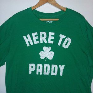 "Lucky Tee Shirt ""HERE TO ☘ PADDY"" T-shirt Green XL"